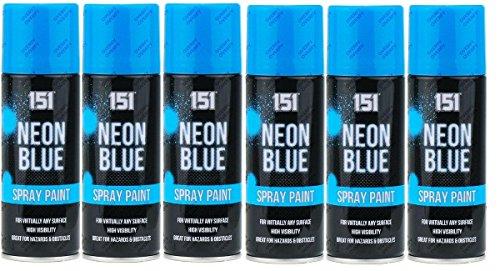 6bombolette da 200ml di vernice spray fluorescente, per auto, fai da te, hobby, graffiti, blu