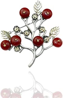 ZWLZQ Broches broche Moda Hecha A Mano Pintada De Aleación De Estaño Rojo Naturaleza Piedra Negro Árbol De Navidad Aguja para Mujeres Hombres