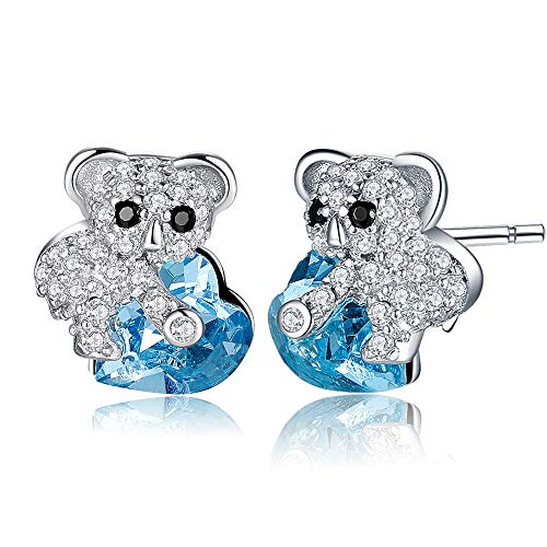 MEGA CREATIVE JEWELRY Pendientes Corazón Azul Koala para Mujer Regalo Niña Hija Joyería Plata 925 con Cristales
