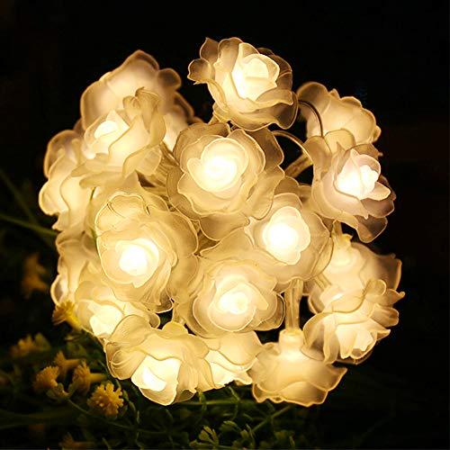 Warmweiß Rose lichter Lichterkette 4.5m 30 LED Blume Licht String Lights, Dekoration für Innenbereich Hochzeit Geburtstag Party Valentinstag Weihnachten, USB Lichterkette für Außen und Innen