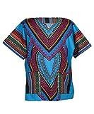 Lofbaz Unisex Dashiki Tradicional De Impresión de África Camisa Hippy M Corazón Azul