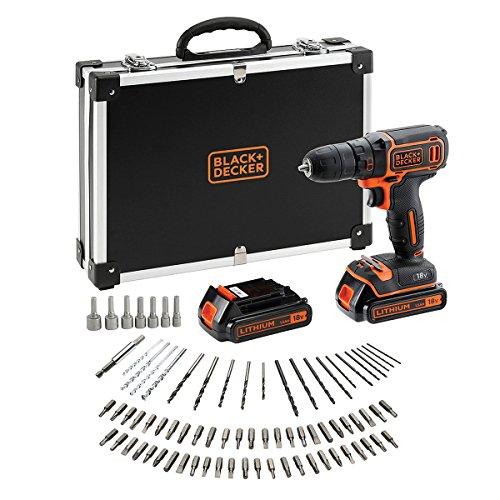 BLACK+DECKER BDCDC18BAFC-QW Perceuse visseuse sans fil - Chargeur inclus - 80 accessoires - Livrée en malette, 18V, Coffret, 2 Batteries