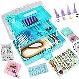 Kit de papel para filigranas, herramientas de filigrana, kit de papel con caja de almacenamiento (caja azul)