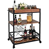 CharaVector Solid Wood Bar Serving Cart,Rolling Kitchen Storage Cart for the Home with Wine Glass Holder and Lockable Caster,Brown