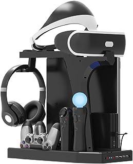 PlayStation Soporte Vertical, PSVR Auriculares Headset Stand, Ventilador de Refrigeración, Estación de carga cargador de c...