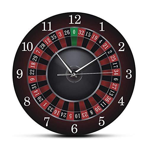 Wjlytf Relojes de Pared Poker Ruleta Reloj de Pared Sala de Juegos Arte de la Pared Decoración Reloj Reloj Juego Casino Regalo 30cm
