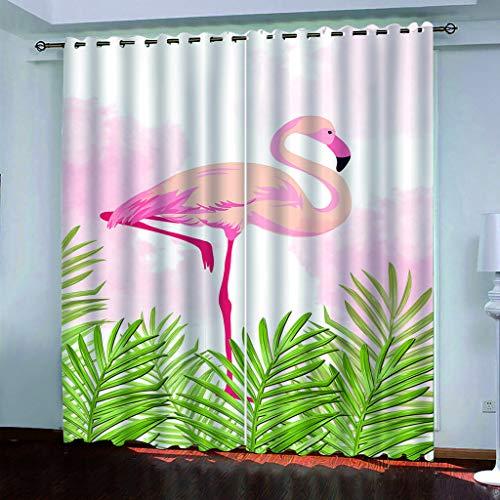PKTMK Vorhang Blickdicht Rosa Flamingo Gardinen Blickdicht Vorhang Schlafzimmer Ösen Vorhänge Wohnzimmer Schlafzimmer Gardine 200x200cm (B x H)