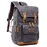 S-ZONE Waterproof Anti-Shock Waxed Canvas SLR DSLR Camera Backpack Large Capacity Camera Case