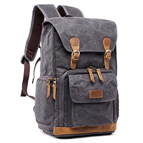 S-ZONE Waterproof Canvas Camera Backpack Case Bag Men Women 14 inch Laptop Tripod