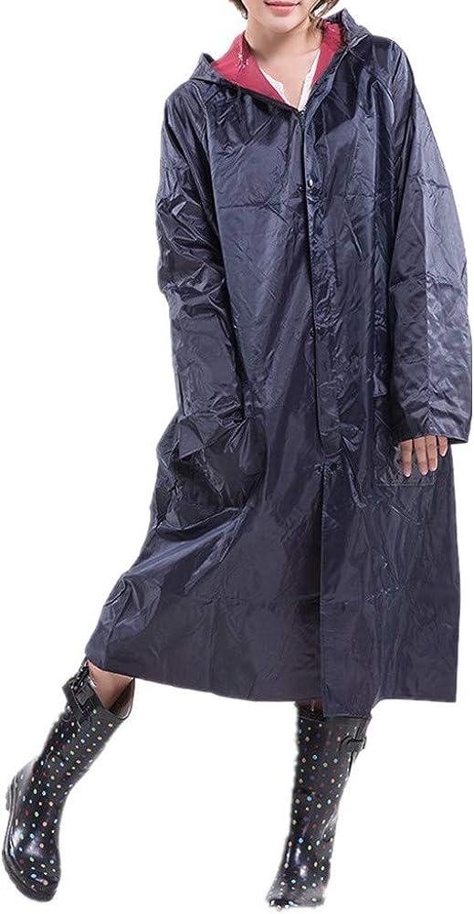 Men's Women's Hooded Oxford Cloth Raincoat with Pockets Outdoor Waterproof Zipper Workwear Fishing Jacket Navy Blue