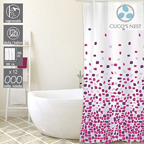 CUCO'S NEST douchegordijn Brest 180 x 200 cm douchegordijn textiel. 100% polyester, waterdicht, anti-schimmel, antibacterieel. Fuchsia