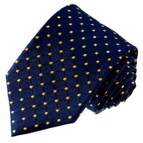 Lorenzo Cana - Marken Krawatte aus 100% Seide - handgefertigte Seidenkrawatte - blau gold Karos Punkte - 77085