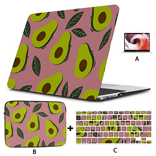MacBook Pro Covers Avocado Cartoon Fruit A1534 MacBook Case Hard Shell Mac Air 11'/13' Pro 13'/15'/16' with Notebook Sleeve Bag for MacBook 2008-2020 Version