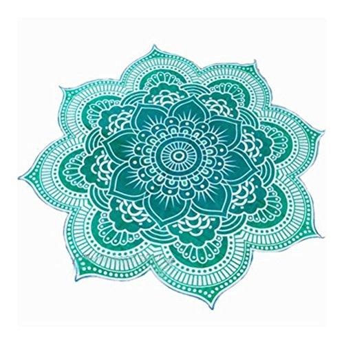 Pixnor Mandala Runde Lotus Strand werfen Gobelin Decke Wolldecke Hippie Boho Zigeuner Tischdecke Strandtuch Runde Yoga Matte grün