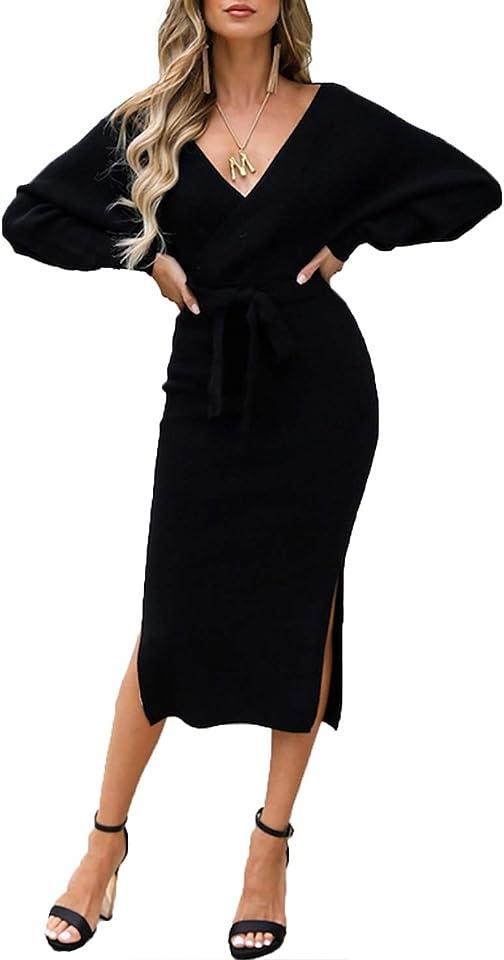 Womens Elegant Long Sleeve Jumper Dress V-Neck Knitted Dress Backless Sweater Dress Tunic Dress with Belt