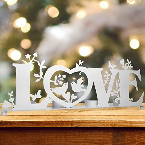 BANBERRY DESIGNS Love Candle Holder - Tea Light Candle Holder with Love, Birds and Vines - Wedding Bridesmaids - White Washed Finish