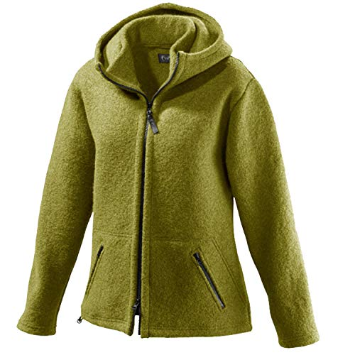 Mufflon Damen Wolljacke Mu- Nele W100 mit Kapuze Kiwi grün - S