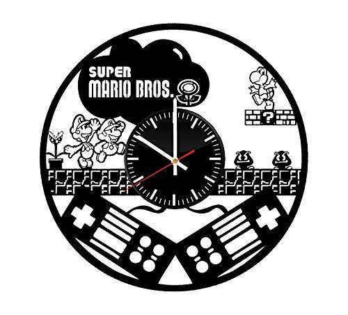 LKCAK Reloj de Vinilo Super Mario Bros - Videojuego Arte de Pared Decoración de la habitación Decoración Hecha a Mano Artículos de Fiesta Tema Cosas Regalo de cumpleaños Estilo Moderno Vintage