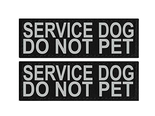 Doggie Stylz Set of 2 Reflective Service Dog DO NOT PET Removable Patches with Hook Backing for Working Dog Harnesses & Vests. Durable and Interchangeable - Comes in 3 Sizes Small, Medium and Large