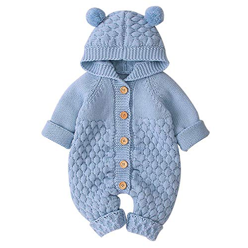 puseky bebé recién Nacido niña Mono de Punto con Capucha Mono Mono...