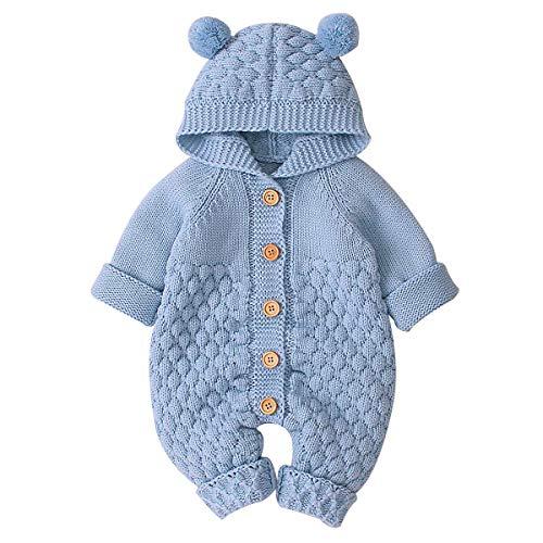 Haokaini Neugeborenes Baby Ohr Kapuze Gestrickte Strampler Overall Winter wärmer Schneeanzug für Jungen Mädchen 90(18-24Monate) Blau