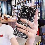 Uposao Cover Compatibile con Samsung Galaxy A51 Custodia Glitter Bling Brillantini Diamond Placcatura in Silicone TPU Cover Morbida con Supporto ad Ring Anello Stand,Black