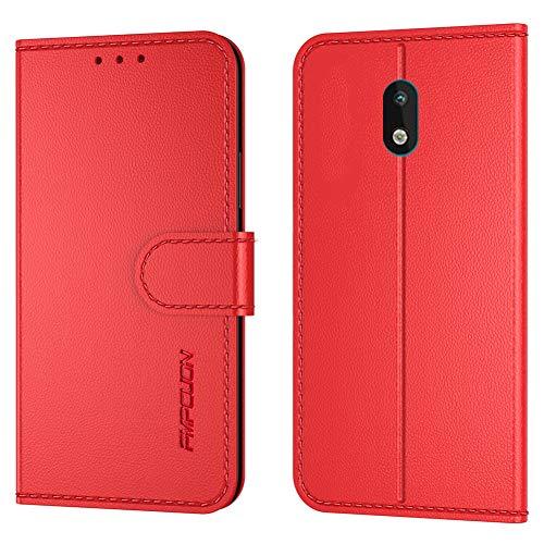 FMPCUON Handyhülle Kompatibel mit Nokia 1.3(Neueste),Premium Leder Flip Schutzhülle Tasche Hülle Brieftasche Etui Hülle für Nokia 1.3(5,71 Zoll),Rot