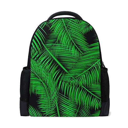 Ahomy Laptop-Rucksack, tropische grüne Palmzweige und Blätter, Tagesrucksack, Büchertasche, Schultasche für Mädchen/Jungen/Jugendliche