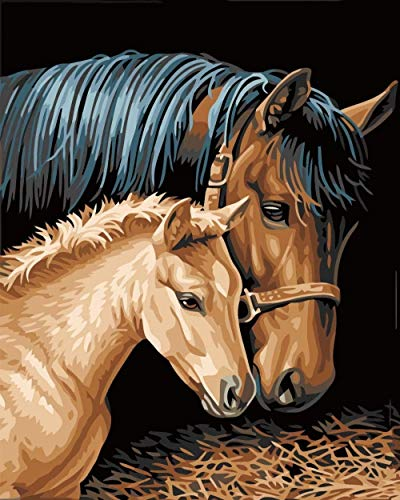 Schilderen op nummer DIY digitale olieverfschilderij paard moeder en kind afbeelding tekening op doek 40 x 50 cm