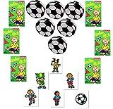 KSS Großes Fußball-Set 6 X Zauberblock + 6 X Tattoos + 6 X Jo Jo für Party , Tombola , Verlosung , Mitbringsel , Mitgebsel , Kindergeburtstag usw...