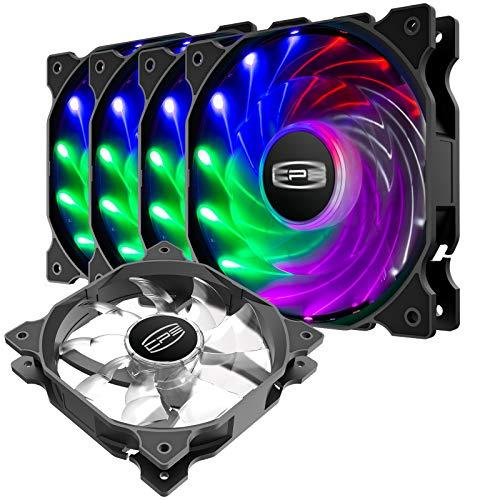 CP3 Computerlüfter, 120 mm, 3-polig, feste Farbe, geräuscharm, LED-Gehäuselüfter, Hochleistungs-PC-Ventilatoren mit Hydrauliklager, für Gaming-PC-Gehäuse (5 Stück)