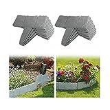 YXLM - Bordatura da giardino effetto pietra, bordi di prato da giardino in plastica, recinzione da giardino per separare il prato del giardino e le aiuole, 20 pezzi, colore: Grigio