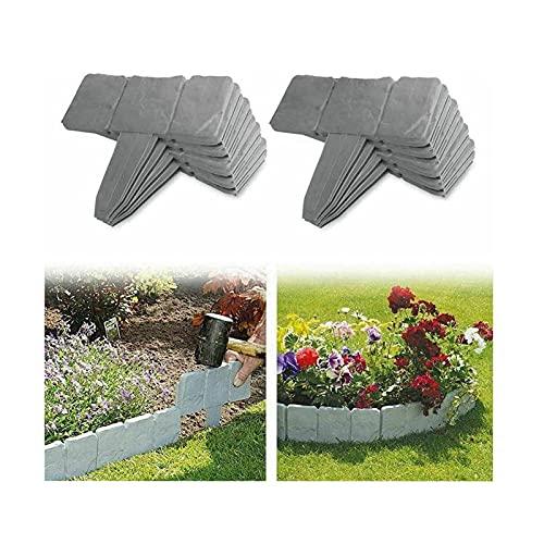 YXLM - Bordatura da giardino effetto pietra, bordi di prato da giardino in plastica, recinzione da giardino per separare il prato del giardino e le aiuole, 40 pezzi, colore: Grigio
