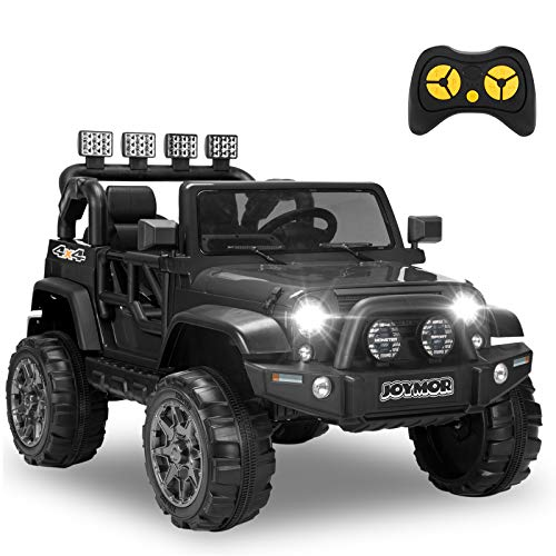 JOYMOR 12V Ride on Truck, Wider Two Seat Kids Electric Battery Powered Car w/ 2.4G Remote Control, Motorized Toddler Vehicles Truck Toy, Adjustable Speeds, MP3 Player, LED, Horn (Black)