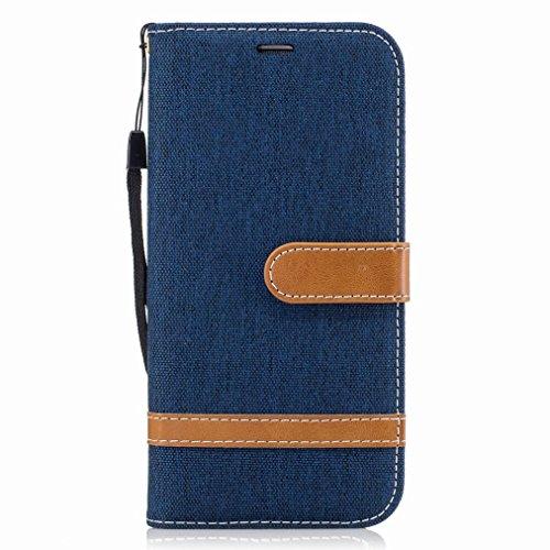 Yiizy Schutzhülle für Galaxy S7 Edge/G935F Hülle, Cowboys Tasche Leder handyhülle PU Ledertasche Schutz Cover Magnet Beutel Silikon huelle Schale Stehen Kartenhalter Stil (Dunkelblauer)