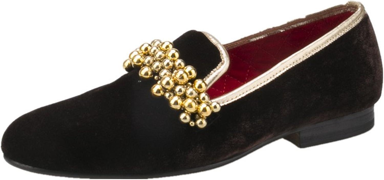 HI&HANN Beading Decoration Handmade Men Velvet Slip-on shoes Flats Loafers Smoking Slipper