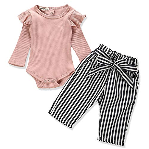 Newborn Baby Girl Clothes Solid Color Romper + Stripe Pants 2PCS Winter Outfit Set 12-18 Months