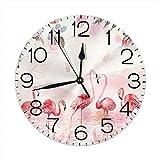 Flamingo Lake Hill Rose Reloj de Pared Redondo silencioso sin tictac Funciona con Pilas para la Oficina del Estudiante, la Escuela, el hogar, Reloj Decorativo, Arte