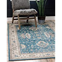 Unique Loom Salzburg Collection Traditional Oriental Light Blue Area Rug
