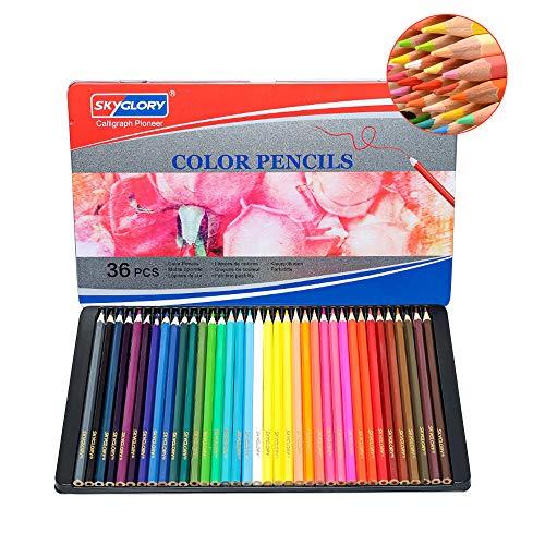 色鉛筆 36色 油性鉛筆 アート色鉛筆セット メタルケース - Roleness - カラーペン 塗り絵 美術 描き用 スケッチ用 プレゼント 鉛筆削り付き