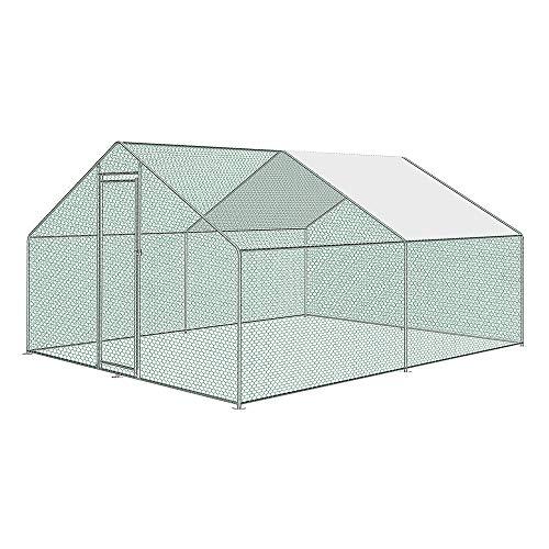 UISEBRT Hühnerstall Käfige Kleintierstall 3 x 4 x2 m - Freilaufgehege mit PE Dach für Geflügel, Kaninchen, Kleine Haustiere, Hunde (3 x 4 x 2 m)