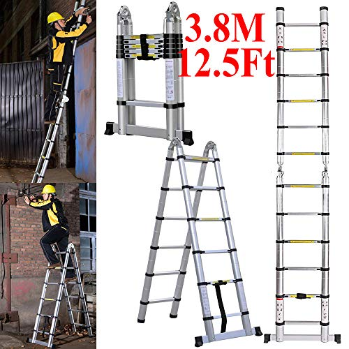 Escalera telescópica plegable multiusos de 3,8 m, con marco en A, de aluminio, portátil, extensible, extensible, para casa, oficina, interior y exterior, capacidad de 150 kg (EN131/CE)