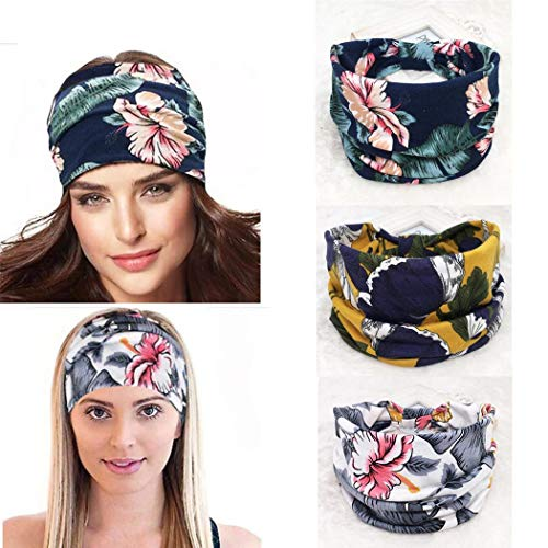 Yean Boho Yoga Stirnband, breit, elastisch, Blumendruck, Turban, modisches Haarband für Frauen und Mädchen (3 Stück)