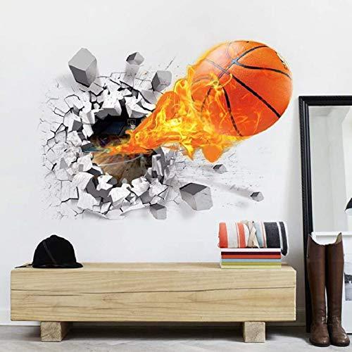 Wandtattoo 3D,Aufkleber DIY für Wohnzimmer,wandtattoo,3D Wandtattoo Basketball,wandaufkleber wohnzimmer,wandaufkleber kinderzimmer,Wandsticker Dekoration,Wandaufkleber,selbstklebendes Wandbild 50x70cm