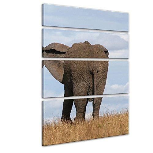 """Bilderdepot24 Cuadros en Lienzo""""Elefante madre y el niño"""" 120x180 cm 4tlg - listo tensa, directamente desde el fabricante"""