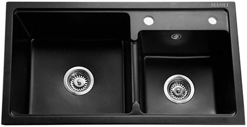 MFLASMF Fregaderos de Cocina Fregadero de Piedra de Cuarzo Lavabo bajo encimera Lavabo Empotrado Lavabo de baño Cuenco Doble Cuadrado (Color: Negro, Tamaño: 80x45x22cm)