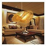 Bamboo Lantern Pendant Lamp, Retro Japanese Style E27 Chandelier Hanging Light Ceiling Lighting Fixture for Living Room Bedroom Restaurant Cafe Tea House Bar Dining Room Club (3 Head Light) (30 inch)