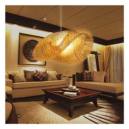 Lámpara colgante de bambú estilo japonés E27, lámpara colgante de techo para sala de estar, dormitorio, restaurante, cafetería, cafetería, comedor, club