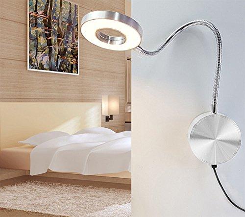 LED-Schlauch-Wandleuchten, Lade Dimmen Hotel-Bett-Leselampen Study Dormitory Student Desk mit Linie Wand-Schreibtischlampe (Farbe : Silver)