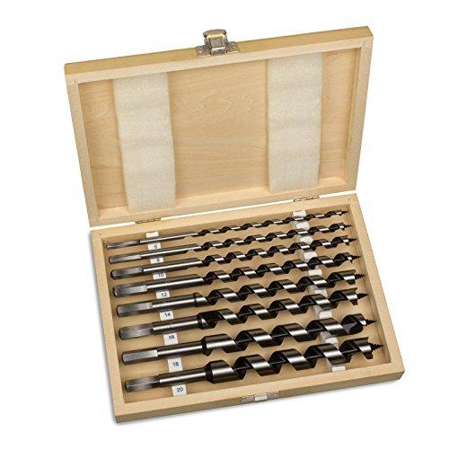 hanSe® Schlangenbohrer-Set 23cm lang 8-teilig in Holzbox Holzbohrer Balkenbohrer Spiralbohrer Bohrerset